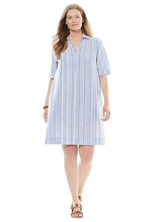 Womens Plus Size Collared Linen Shirtdress At Amazon Womens