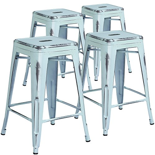 Flash Furniture 4 Pk. 24'' High Backless Distressed Green-Blue Metal Indoor-Outdoor Counter Height Stool (Back 24 With Counter Stool)