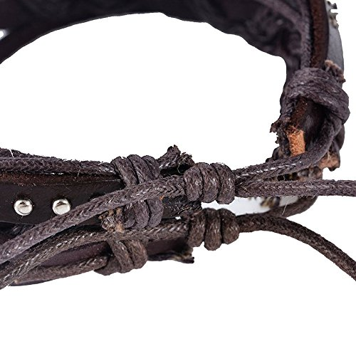 Souarts Mixte Bijoux Bracelet PU Cuir Perles Tressé Multi Rangs Punk Réglable Couleur Aleatoire 20cm 5PCS 1Set
