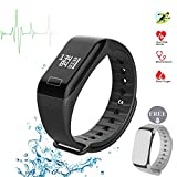 watch for high blood pressure - Fitness Tracker Smart Bracelet Wireless Bluetooth 4.0 Sports Band with Pdeometer Sleep Monitoring Calories Track for Daily Activity and Sleeping for Android IOS iPhone(Black+ Gray Band)