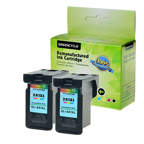GREENCYCLE Re-Manufactured CL-241XL 241 XL Ink Cartridge Replacement for Canon PIXMA MG3620 MG3520 MG4220 MG3220 MG2220 MX392 MX432 MX452 MX472 MX512 MG3522 MX532 (Tri-Color, 2 Pack)