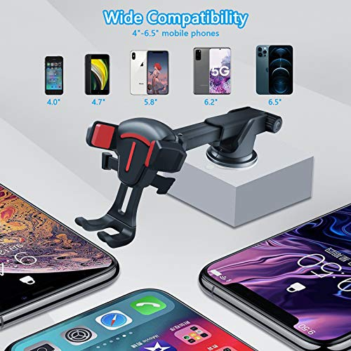BOLWEO Car Phone Holder Mount Air Vent, Dashboard Cell Phone Holder, Car Phone Mount for Car Compatible with iPhone 12 Pro Max/11/11 Pro/11 Pro Max/XR/XS/8/7/6 Galaxy s20 Note 10 9 Plus (Red)