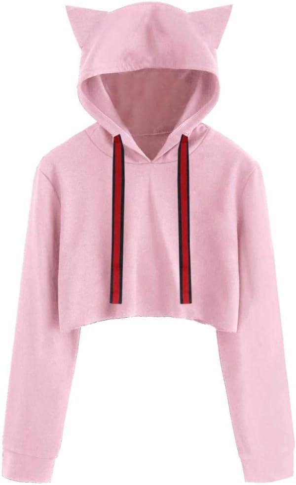 Huhu833 damski kot długi rękaw bluza z kapturem sweter krÓtki top bluzka: Odzież
