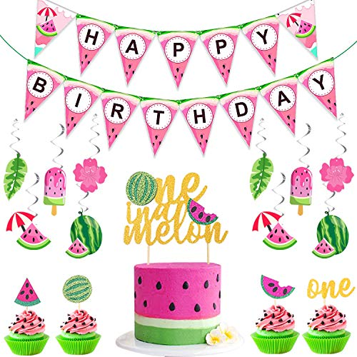 Haojiake Watermelon Party Supplies Decoration One in a Melon Cake Topper Hanging Swirls and Happy Birthday Banner for Summer Beach Fruit Luau Themed 1st Birthday Party