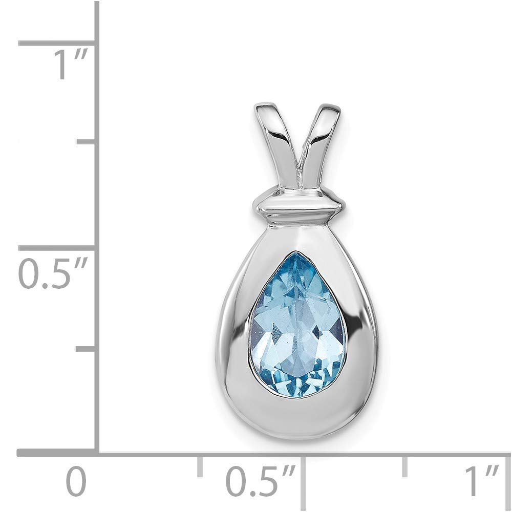 FB Jewels Solid 925 Sterling Silver Blue Topaz Pendant