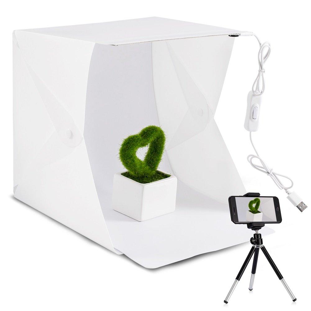 Photo Light Box Photography, Foldable & Portable Mini Photo Studio Lighting Box Kit - Built-in Adjustable LED Strips - 4 Colors Backdrops - Phone Tripod - Switch USB Cable WORSPODAY