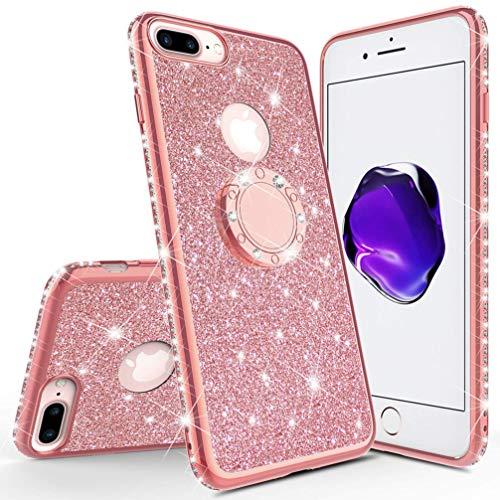 - Compatible Apple iPhone 7 Plus 8 Plus Case, ANERNAI Glitter Cute Girls Women Kickstand Bling Diamond Rhinestone Bumper Ring Stand Protective Durable TPU Cover (Rose Gold)