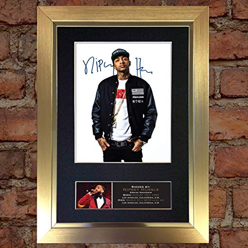 (#782 NIPSEY HUSSLE Signed Autograph Photo Reproduction Print A4 Rare Perfect Birthday (297 x 210mm) (Gold Frame))