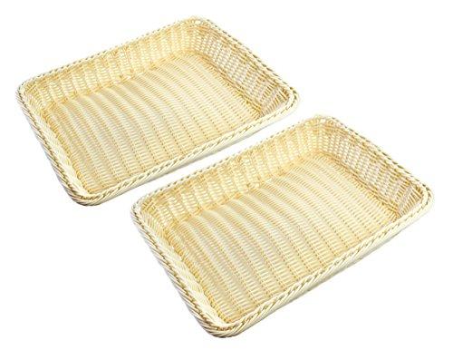 Plastic Faux Rattan Hand Woven Storage Multipurpose Basket, Cream Colored 15.7