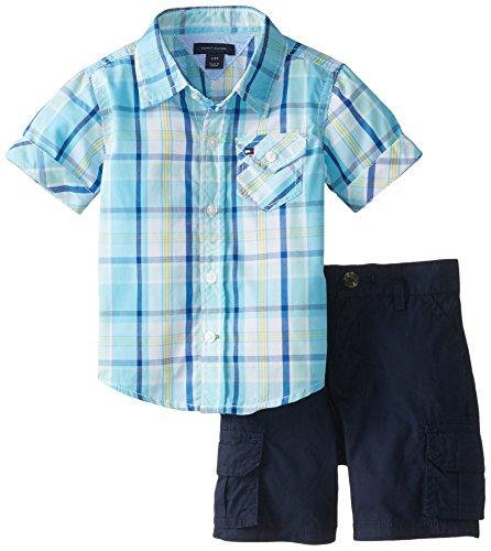 Tommy Hilfiger Baby Boys' Bright Yarn Dye Poplin Plaid Shirt Set, Serenity Blue, 18 Months