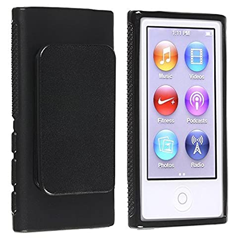 Importer520 Belt Clip TPU Rubber Skin Case Cover for Apple iPod Nano 7th Generation 7G 7 (Black) (Ipod Nano Cases With Clip)