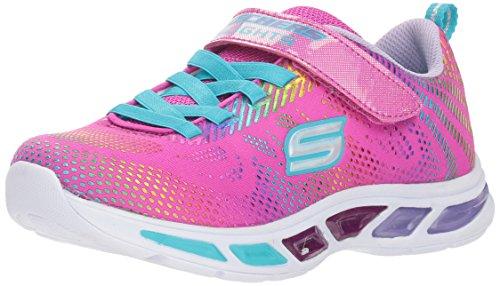 Skechers Baby Girls' Litebeams-Gleam N'DREAM Sneaker, neon Pink/Multi, 7 Medium US Toddler