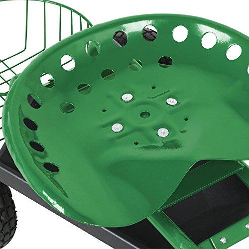 Yaheetech Green Heavy Duty Garden Cart Rolling Work Seat w/Tool Tray Gardening Planting Yard by Yaheetech (Image #4)