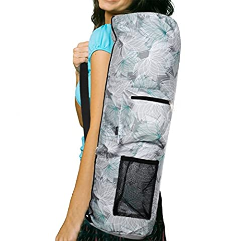 RoryTory Yoga Mat Bag w/ Adjustable Strap, Water Bottle Carrier, Inner & Outer Pockets, Heavy Duty & Machine Washable - Fits Most Yoga Mat Sizes (Lotus - Monster Yoga Mat