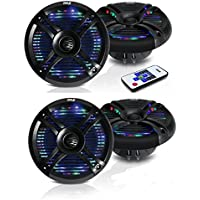 Pyle PLMRX68LEB 6.5 Inch 500 Watt Marine Boat LED Light Black Speakers, 4 Pack