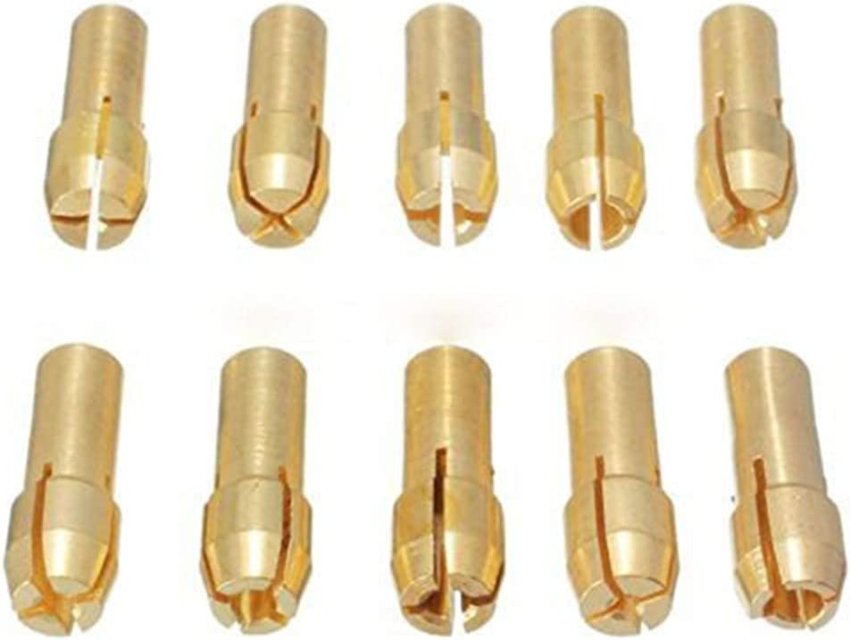 Fliyeong Brass Collet Brass Chuck Rotary Collet Set 4.8mm Shank 0.5-3.2mm 10pcs Shank for Dremel Tool Stylish and Popular