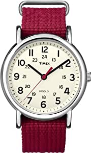 Timex Weekender - Reloj analógico de cuarzo para mujer con correa de nylon, color rojo