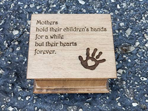 Mother's day music box, mom music box with quote for mom along with hand print and heart, great gift for -