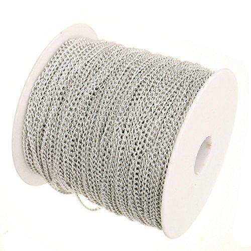 ILOVEDIY 5Meter Metallkette Aluminum Gliederkette Kabelkette Link Kette zum Basteln 0.7x4x2.5mm (Silber+ 5 Meter)