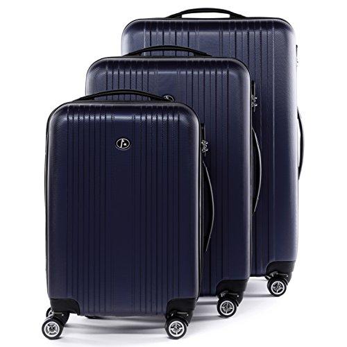 FERGÉ Set di tre valigie TOULOUSE - bagaglio rigide duro da 3 - tre pz. valigie con 4 ruote (360) - pelle blue