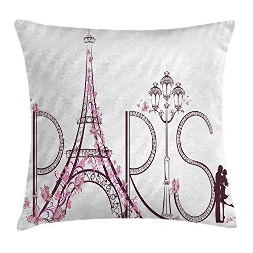 Paris Bar Chair - Lunarable Paris Throw Pillow Cushion Cover, Tower Eiffel with Paris Lettering Couple Trip Flowers Floral Artful Design Print, Decorative Square Accent Pillow Case, 26 X 26 Inches, Plum Pale Pink