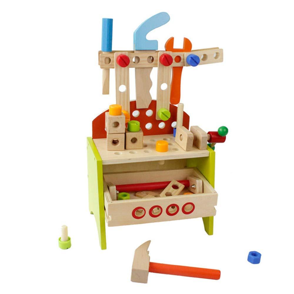 Kindlov 子供用 組み立てブロック おもちゃ 子供用 DIY カーペンター おもちゃ 組み立て 学習 プレイセット マルチカラー 木製ツール ポータブルツール 椅子 啓発 教育 素材 安全   B07QMCNB6S