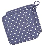 Neoviva Cotton Quilted Heat Resistant Pot Holder for Daily Kitchen, Set of 2, Polka Dots Crown Blue