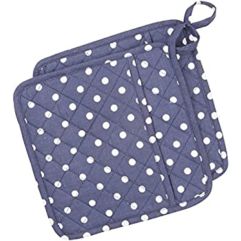 NEOVIVA Quilted Pot Holders Heat Resistant with Pocket for Easy Grip, 8