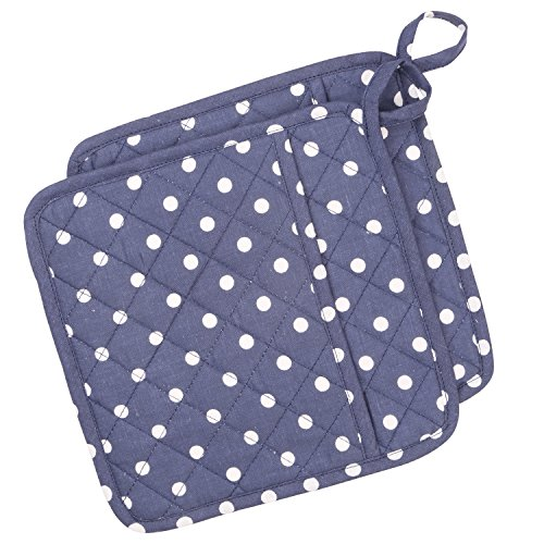 Neoviva Cotton Quilted Heat Resistant Pot Holder for Daily Kitchen, Set of 2, Polka Dots Crown Blue by Neoviva