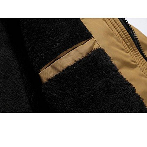 Kaki Et Hommes Épais Chaud Blousons Ultra Fourrure Manteau Fermeture Longra Zipper Long Boutons D'extérieur Vêtements Hiver Capuche Grande À Parka Homme Éclair Doudoune Taille Blouson PgO4S