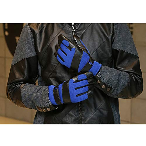 AINIYF Ski Gloves | Men's Leather Mittens Winter Windproof Non-slip Warm Plus Velvet Thicken Outdoor Cycling Bike Full Finger Motorcycle Mittens Winter (Color : Gray) by AINIYF (Image #3)
