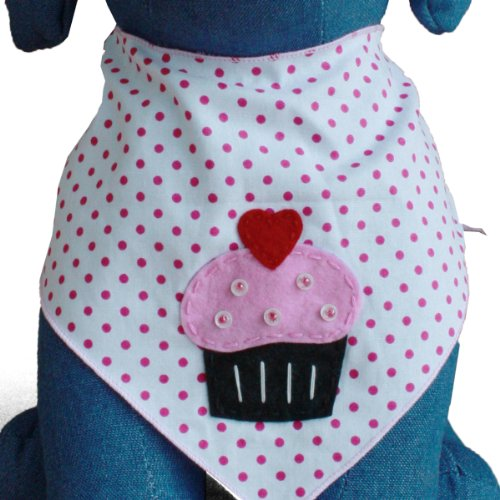 Tail Trends Dog Bandanas Cupcake Surprise Design fits Medium to Large Sized Dogs - 100% Cotton