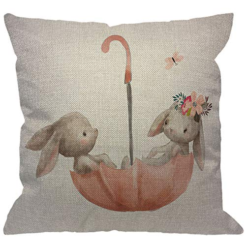 HGOD DESIGNS Hares Throw Pillow Cover,Watercolor Cute Animal Flower Bunny Couple Rabbit Love with Butterfly On Umbrella Decorative Pillow Cases Linen Cushion Covers for Home Sofa Couch 18x18 inch ()