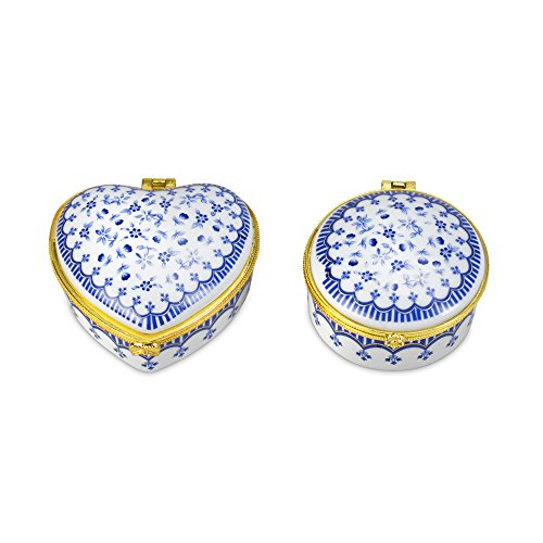 Blue and White Porcelain Boxes Set of Two Porcelain Heart Jewelry