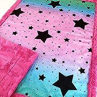 "Baby Girl Pink Ombre Stars Crib Minky Blanket Infant Toddler 28""x40"""