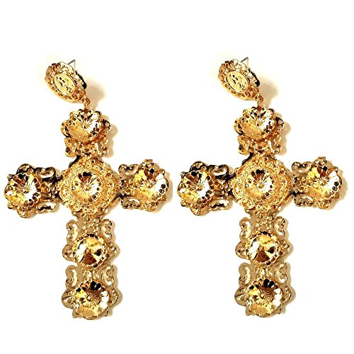 [Vintage Designer Alloy Metallic Flowers Art Deco Large Gold Baroque Cross Earrings] (Butterfly Gold Cross)
