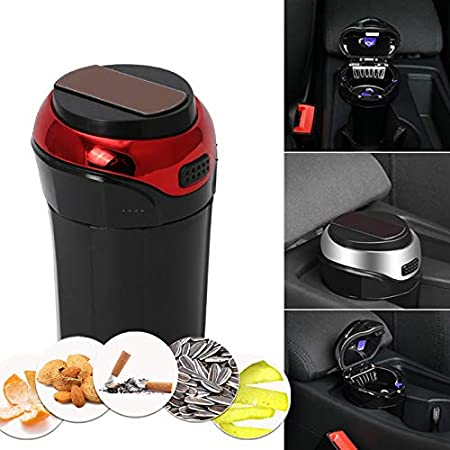 xingxinqi Car Ashtray Easy Clean Up Detachable Stainless Car Ashtray with Lid Blue Led Light and Removable Lighter USB Charging for Most Car Cup Holder