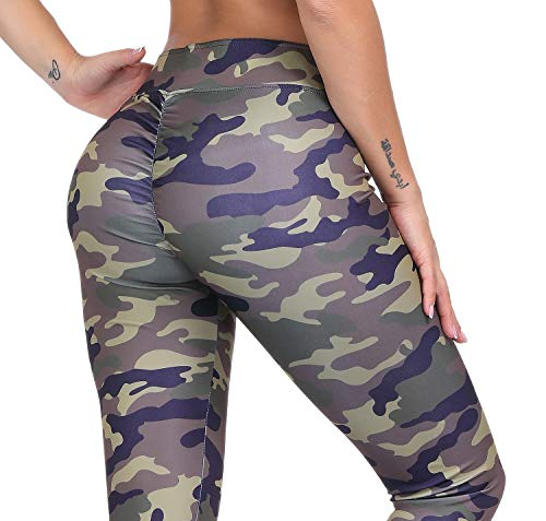 (Moda Colombian Buttlifter Tummy Control Polyester & Spandex Power Flex Sexy Yoga Pants Leggings for Women (Camo, Large (Size 6-8))