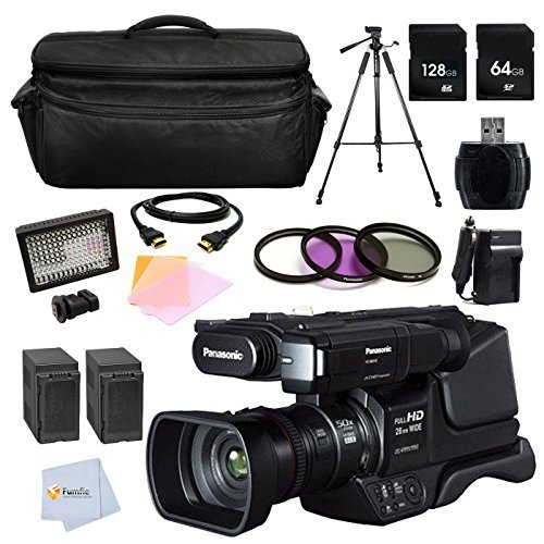 Panasonic HC-MDH2 AVCHD HCMDH2 Shoulder Mount Camcorder (PAL) + 72'' Tripod + 3 Pc. Filter Kit + 128GB Memory Card + 64GB Memory Card + Reader + 2 Batteries & more by Fumfie