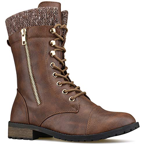 Premier Standard Round Toe Military Lace up Knitted Ankle Cuff Low Heel Combat Boots Premier Brown