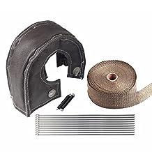 "Turbo Heat Shield Blanket Cover T3 Black + 2"" 50Ft Exhaust Header Wrap Titanium"