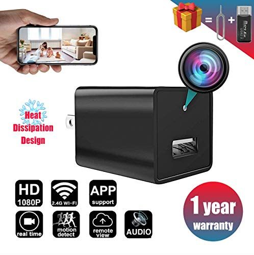 New 2019 WiFi Spy Hidden Camera Charger with Remote View,HD 1080P Spy Camera USB Charger with WiFi,Wireless Nanny Cam,Hidden Cam,Home Surcurity Spy Cam with Motion Detection,Support iOS/Android