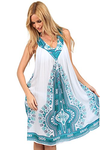 Painted Umbrellas Hand (Unbranded Women's Sleeveless Loose Printed Casual Short Warm Comfy Dress (White/Turquoise, One Size))