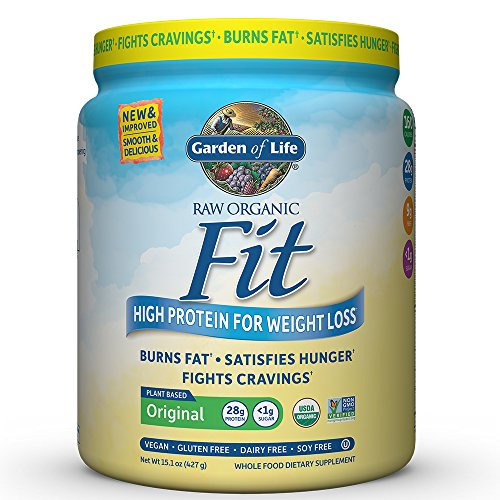 Garden of Life Organic Meal Replacement - Raw Organic Fit Powder, Original - High Protein for Weight Loss (28g) plus Fiber, Probiotics & Svetol, Organic & Non-GMO Vegan Nutritional Shake, 10 Servings