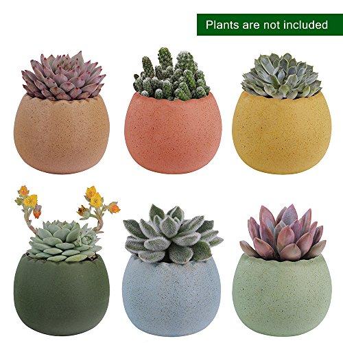 6 Pcs 2.75 Inches Ceramic Pots, Colorful Cute
