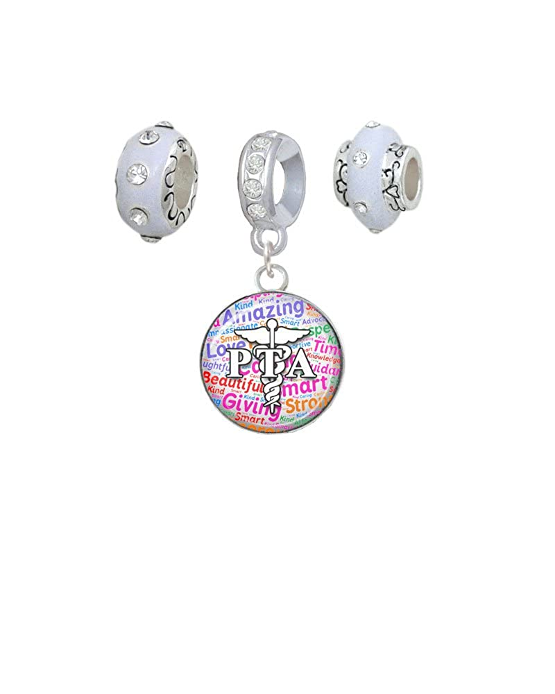 Domed PTA White Charm Beads Set of 3