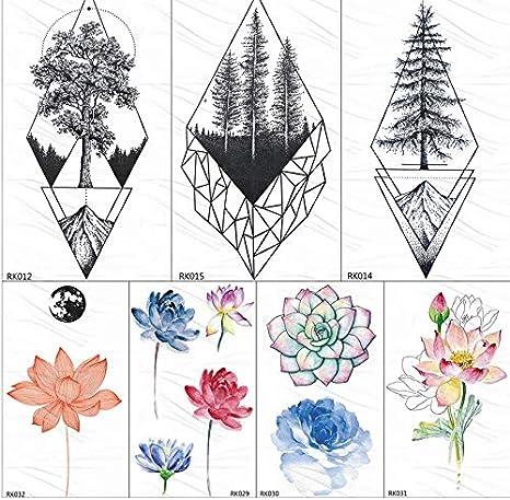 yyyDL Etiqueta engomada del tatuaje temporal Árbol de pino ...