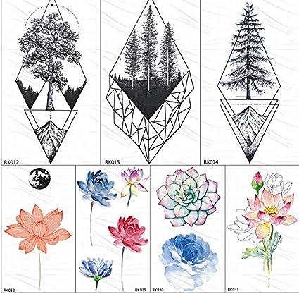 yyyDL Geometric Pine Tree Mountain tatuajes temporales pegatina ...
