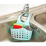 WillsCase Plastic Kitchen Sink Sider Faucet Caddy Organizer Sponge Holder Rack Space-saving Hanging Storage Bag- Blue