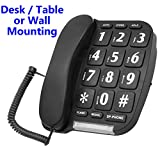 Big Button Phone – Hands free Speaker-phone – Amplified Handset - Desk / Table, or Wall Mounted - 10 Phone Number Memory & Last Number Redial (Ideal: Impaired Vision / Reduced Hearing) (Black)